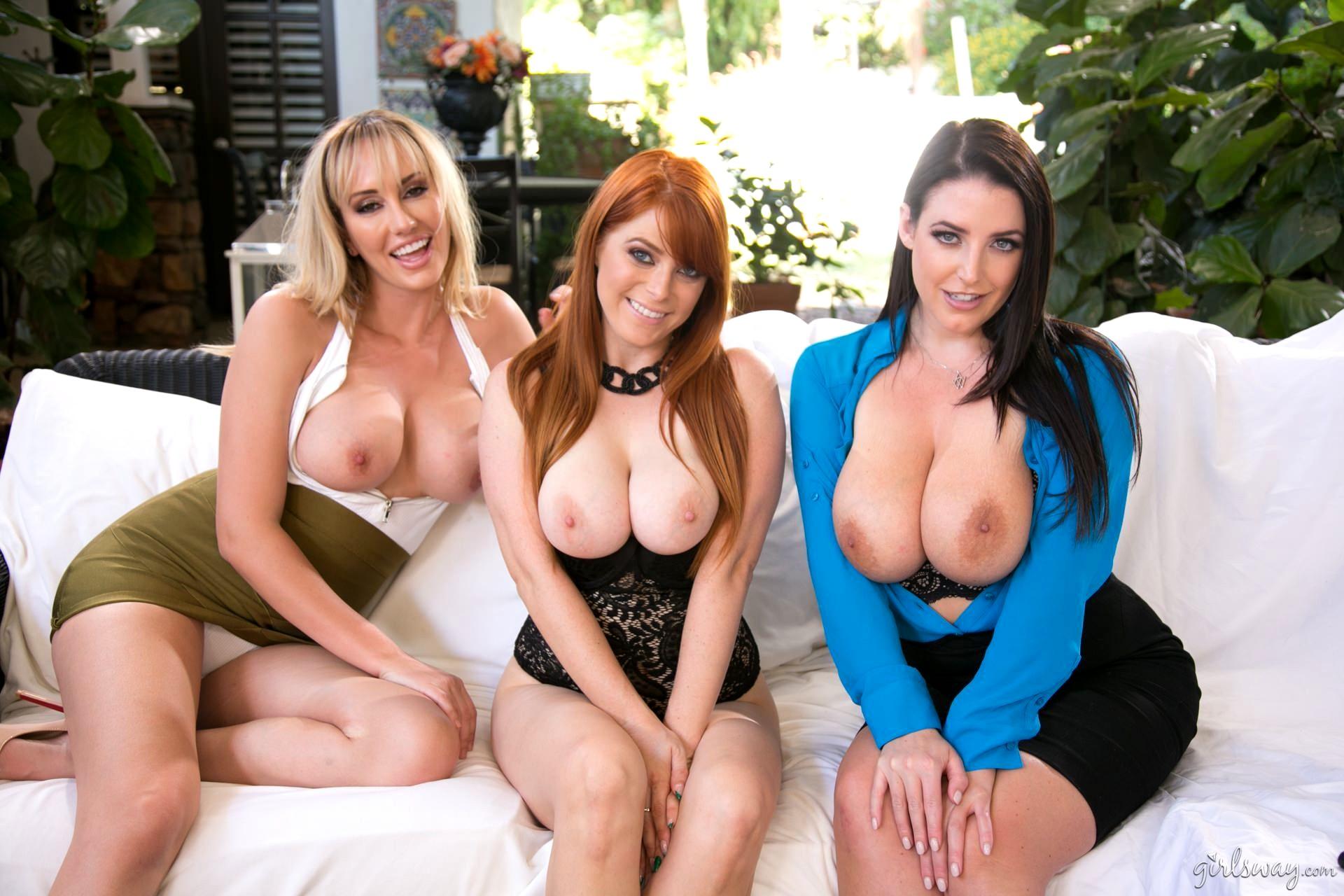 Big tits nympho lesbian babes