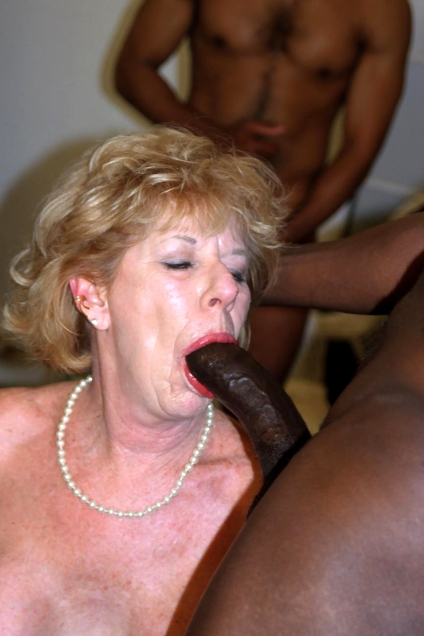 White granny sucking and fucking black cock