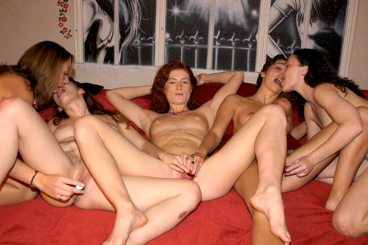 Lesbian group sex at party